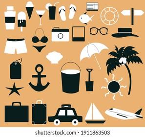 Vector holiday set. Illustration set holiday trip, summer holidays theme on white background