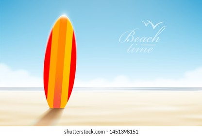 Vector holidays design. Surfboards on a beach against a sunny seascape
