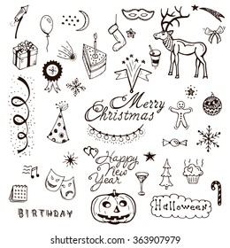 Vector Holidays doodle set. Cafe brochure menu design elements. Vector holiday with xmas hand-drawn graphic. Happy New Year invitation