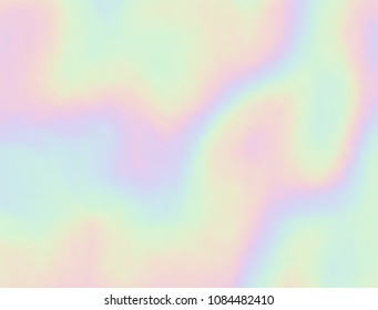 Vector holographic background. Pearlescent texture. Iridescent design in pastel hues. Hologram abstract background.