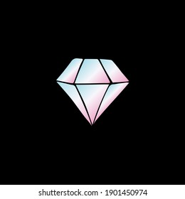 Vector holographic hand drawn doodle sketch diamond isolated on black background