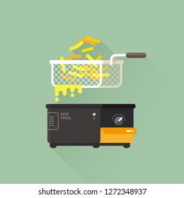 vector home deep fryer for cooking french fries and roast product in hot oil / household equipment / flat illustration, cartoon style / isolated, sign and icon template