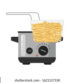 Vector home deep fryer for cooking french fries and roast product in hot oil household equipment flat illustration, cartoon style isolated.
