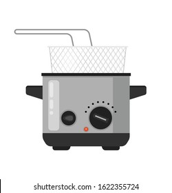 vector home deep fryer for cooking french fries and roast product in hot oil household equipment flat illustration, cartoon style isolated, sign and icon template