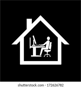 vector home office icon flat design infographic pictogram white on black background