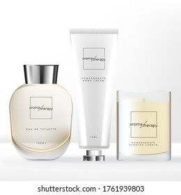Vector Home Relaxation Set with Perfume Glass Bottle, Scented Candle Glass Jar & Hand Cream Tube Packaging.
