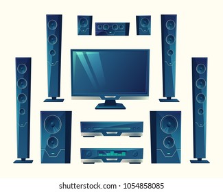 Vector home theater, audio video system, acoustic equipment, stereo technology. Electronic amplifier, surround hi-fi sound. Speakers, subwoofers, media player in cartoon style isolated on background