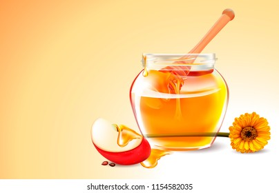 Vector Honey, Apple, Flower.Нoney in a transparent glass Jar.Wood Dipper and yellow Daisy. Vector picture, image for poster, stickers, business cards. Leaflet for selling honey, bee products.