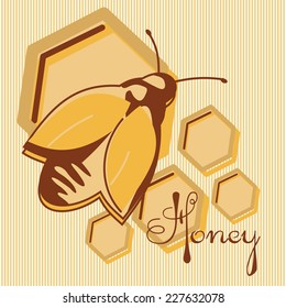 Vector honey background and bee on honeycomb label for your design