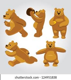 Vector Honey Bear Poses
