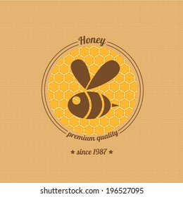 vector honey bee icon on honeycomb background. abstract bee silhouette. honey vintage label or sticker