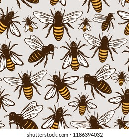 Vector honey bee seamless pattern or background for honey products, apiary and beekeeping branding and identity.