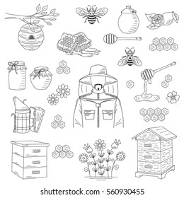 Vector honey collection with beekeeping elements bee, beehive, beekeeper, honeycomb, smoker, jar and dipper stick isolated on white background. Hand drawn, doodle style illustration.