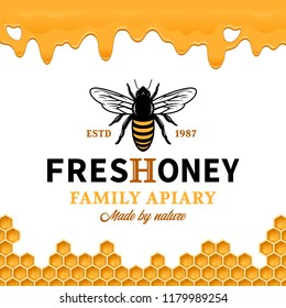 Vector honey logo with bee, dripping honey and honeycombs