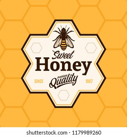 Vector honey logo with bee on a honeycomb background.