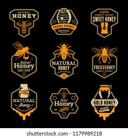 Vector honey logo and icons on a black background for honey products, apiary and beekeeping branding and identity.