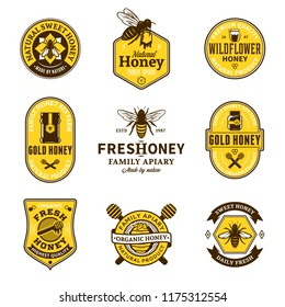 Vector honey logo and icons for honey products, apiary and beekeeping branding and identity.