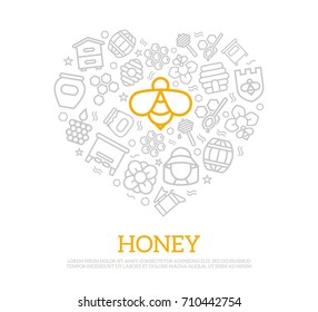 Vector honey thin line icons in heart shape design concept. Illustration for presentations on white background