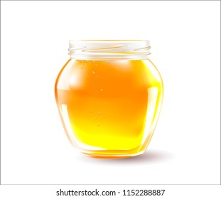 Vector Honey in a Transparent Glass Jar.A realistic image of honey for companies selling beekeeping products.Healthy organic food concept.