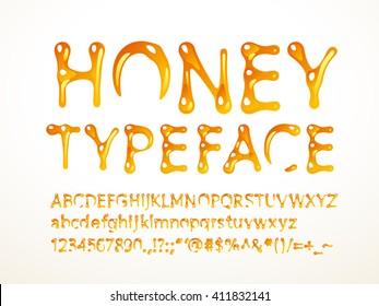 Vector honey typeface