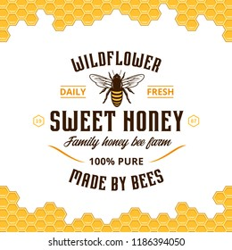 Vector honey vintage logo with bee and honeycomb pattern on a background. Honey products, apiary and beekeeping branding and identity.