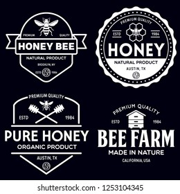 Vector honey vintage logo and icons for honey products, apiary and beekeeping branding and identity. Isolated illustration.