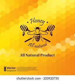 Vector honeycomb background with bee label design