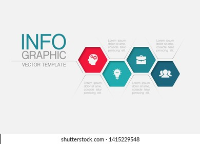 Vector honeycomb infographic diagram, template for business, presentations, web design, 4 options.