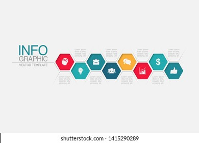 Vector honeycomb infographic diagram, template for business, presentations, web design, 8 options.