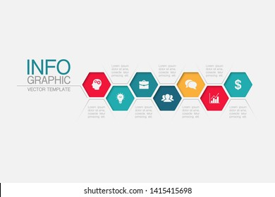 Vector honeycomb infographic diagram, template for business, presentations, web design, 7 options.