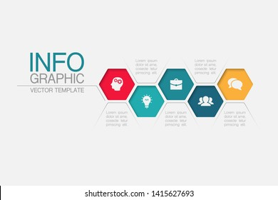 Vector honeycomb infographic diagram, template for business, presentations, web design, 5 options.