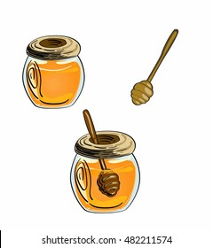 vector honeypot with honey dipper. hand drawn style.