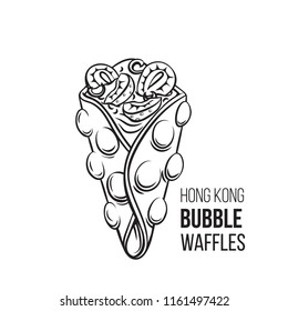 Vector Hong kong bubble waffle icon. Illustration dessert with strawberry and whipped cream for street cafe. Retro style.