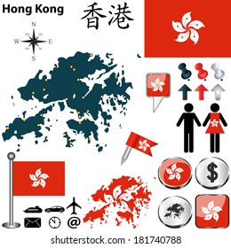 Vector of Hong Kong set with detailed country shape with region borders, flags and icons