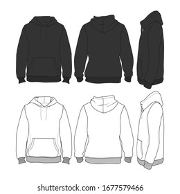Vector Hoodie Black and White Sleeves Streetwear Fashion Illustration Design Commercial Use