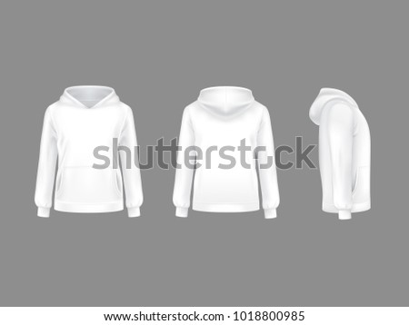 2d22314918fd6 Vector hoodie sweatshirt white 3d realistic mockup template. Fashion long  sleeve clothing hooded pullover front