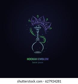 Vector hookah with flower  logo design. Hookah label. Smoking hookah perfect for lounge cafe emblem, arabian bar or house, shop.