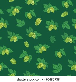 Vector Hops Pattern | Seamless texture with sketch green hop illustration on green background