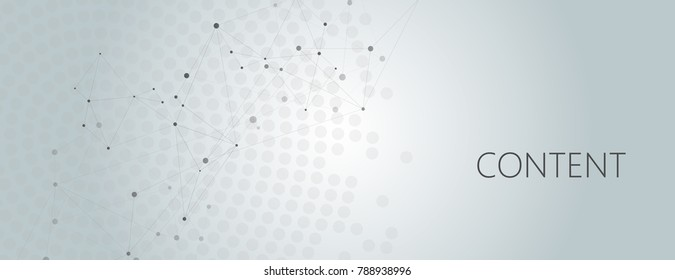 Vector horisontal template with modern design. Abstract geometric pattern, connections dots and lines background.