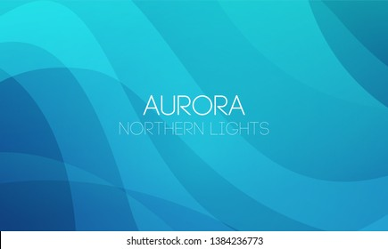 Vector horizontal abstract Backgrounds of Northern Lights, Aurora Borealis in blue color, EPS10. Wallpaper with waves and curve lines. Enchanting backdrop, wallpaper or smartphone app.