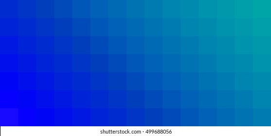 Vector horizontal abstract gradation pixel background. EPS 8. Blur square fond. blue, cyan and turquoise color. Diagonal gradient.