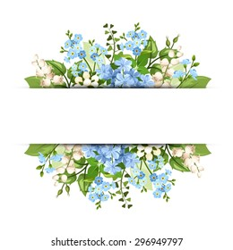 Vector horizontal background with blue and white flowers and green leaves.