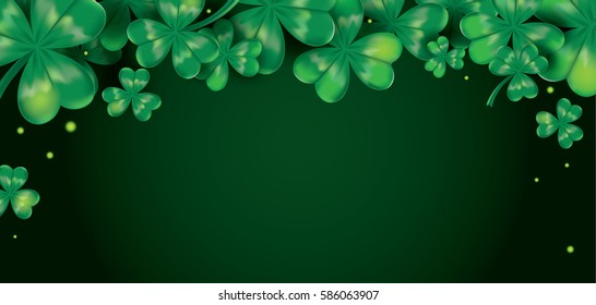 Vector horizontal background with clover leaves. Irish symbol. St. Patrick's Day background. Template for design card, invitation, banner, festive decorations