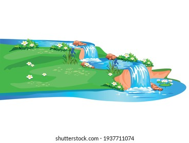 Vector horizontal background of a fabulous summer landscape with a cascade of waterfalls and a meadow in cartoon style isolated on white background.