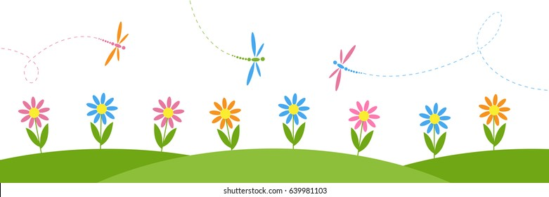Vector horizontal background with flowers and dragonflies. Summer or spring landscape for childish design