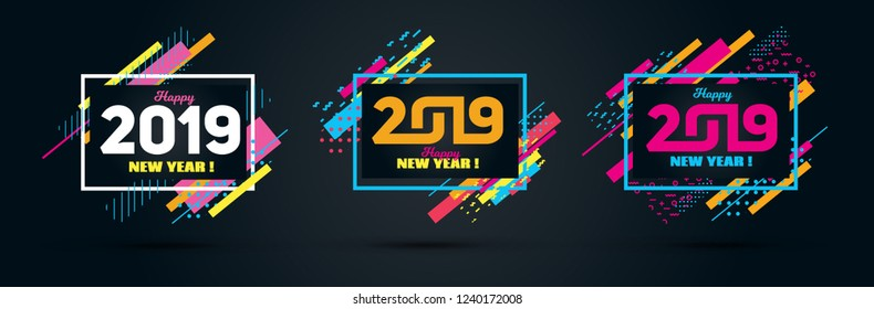 Vector horizontal background frame for text Modern Art graphics for hipsters. Happy New Year 2019 design elements for design of gift cards, brochures, flyers, leaflets, posters.