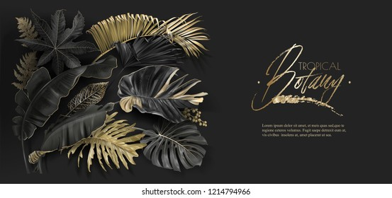 Vector horizontal banner with black and gold tropical leaves on dark background. Luxury exotic botanical design for cosmetics, spa, perfume, aroma, beauty salon. Best as wedding invitation card