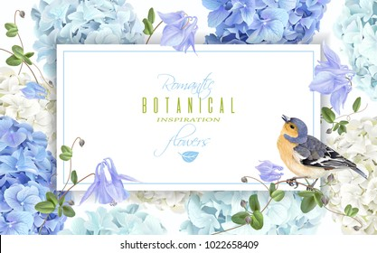 Vector horizontal banner with blue, white hydrangea flowers and bird on white background. Floral design for cosmetics, perfume, beauty care products. Can be used as greeting card, wedding invitation