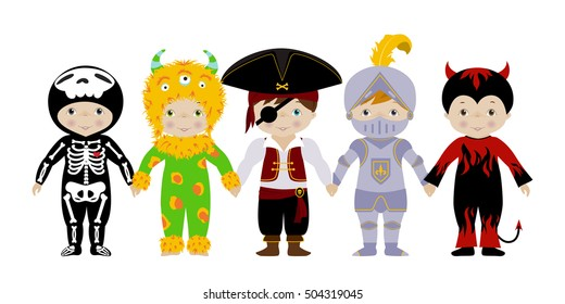 Vector horizontal banner with cute little boys in fancy dresses of skeleton, monster, pirate, knight and devil.
