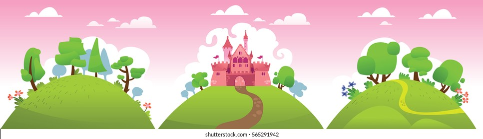 Vector horizontal banner with fairy tale castle